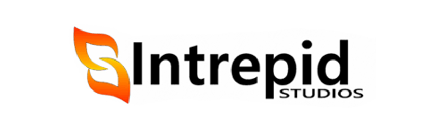 intrepid studios logo white banner